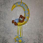 """Для дома и интерьера ручной работы. Ярмарка Мастеров - ручная работа Именное панно"""" Мишка на месяце"""". Handmade."""