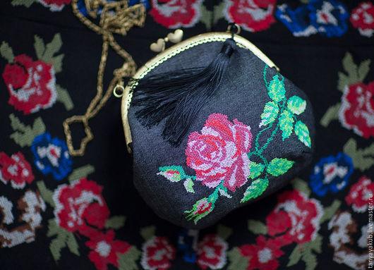 Женские сумки ручной работы. Ярмарка Мастеров - ручная работа. Купить Сумка на фермуаре с вышивкой Розочка. Handmade. Рисунок