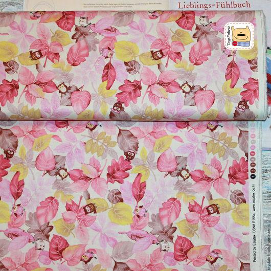 Шитье ручной работы. Ярмарка Мастеров - ручная работа. Купить Ткань для пэчворка Совы на розовых веточках (20385) корейский хлопок. Handmade.