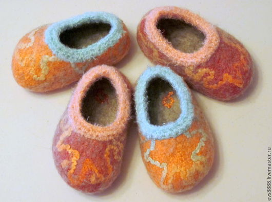 Детская обувь ручной работы. Ярмарка Мастеров - ручная работа. Купить Тапочки валяные детские. Handmade. Детские тапочки