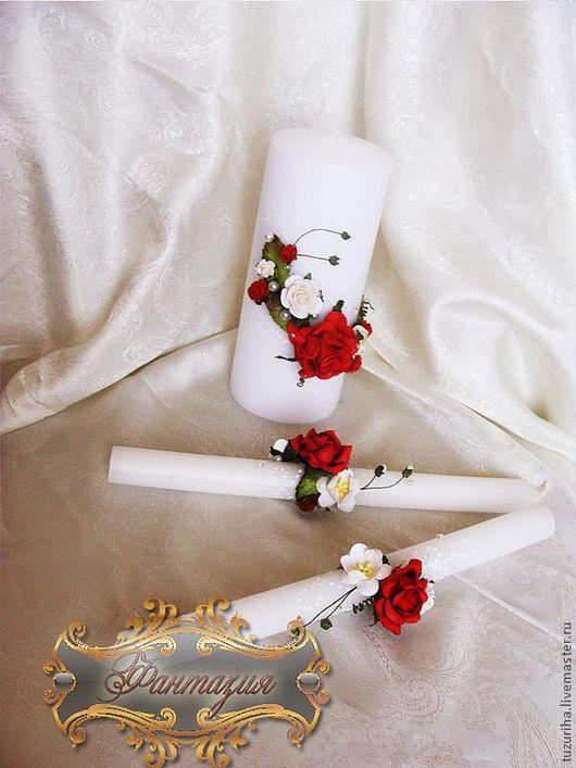 Свадебные аксессуары ручной работы. Ярмарка Мастеров - ручная работа. Купить Свечи длинные - Дикая роза. Handmade. Свадебные свечи