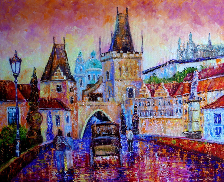 Картина с городом, маслом. Город. Прага, Картины, Москва,  Фото №1