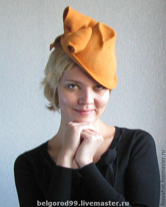 """Шляпы ручной работы. Ярмарка Мастеров - ручная работа. Купить Шляпа """"оранжевый тильт- топпер"""". Handmade. Оранжевый, оранжевая шляпа"""