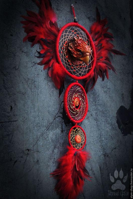 Ловцы снов ручной работы. Ярмарка Мастеров - ручная работа. Купить Ловец снов с крыльями Феникс, ловец снов Феникс, красный ловец снов. Handmade.