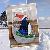 Для дома и интерьера ручной работы. Ярмарка Мастеров - ручная работа Подсвечник зимний с Пингвином-лыжником. Handmade.
