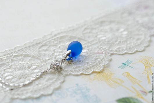 Кулоны, подвески ручной работы. Ярмарка Мастеров - ручная работа. Купить Кулон Капля синяя матовая. Handmade. Кулон