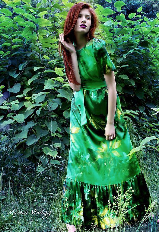 Платья ручной работы. Ярмарка Мастеров - ручная работа. Купить Эхо леса     платье из купонной ткани. Handmade. Изумруд, зеленый