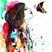 Картины и панно handmade. Livemaster - original item Bright picture of watercolor butterfly Kiss. Handmade.