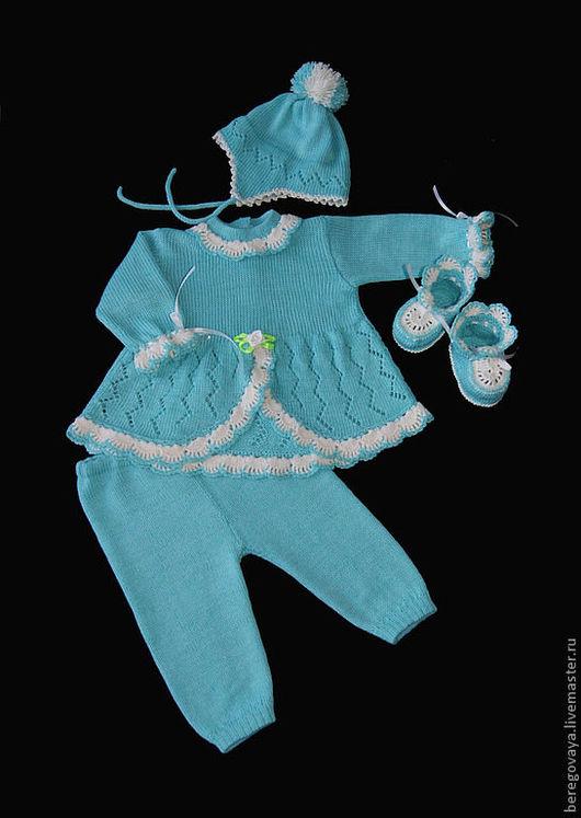 Для новорожденных, ручной работы. Ярмарка Мастеров - ручная работа. Купить Комплект для новорожденных Бирюза. Handmade. Бирюзовый, теплый, для девочки