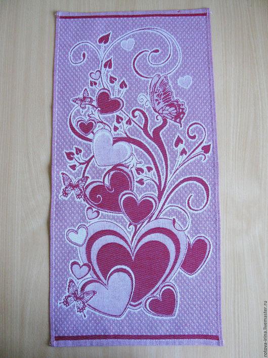`Бабочки на сердце` - жаккардовое полотенце для кухни или дачи.Размер полотенца 33 Х 70см. Хорошо впитывает влагу, стирается и сохнет.