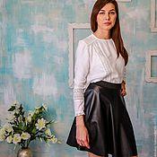 Skirts handmade. Livemaster - original item The bell skirt in black eco leather. Handmade.