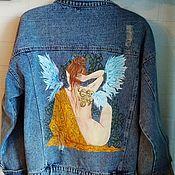 Одежда handmade. Livemaster - original item Denim jacket with hand-painted Angel. Handmade.