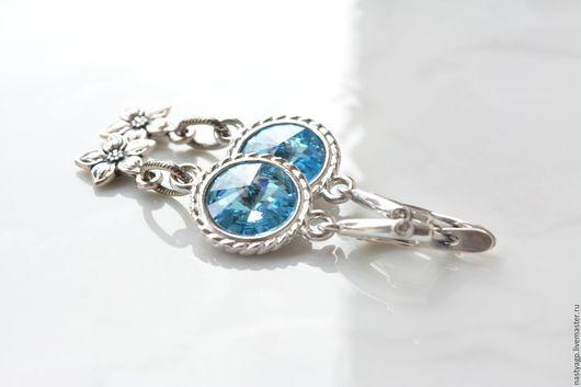 серьги , серьги с кристаллами ,голубые серьги ,серьги на выход ,выпускной ,красивые серьги ,бижутерия,украшения