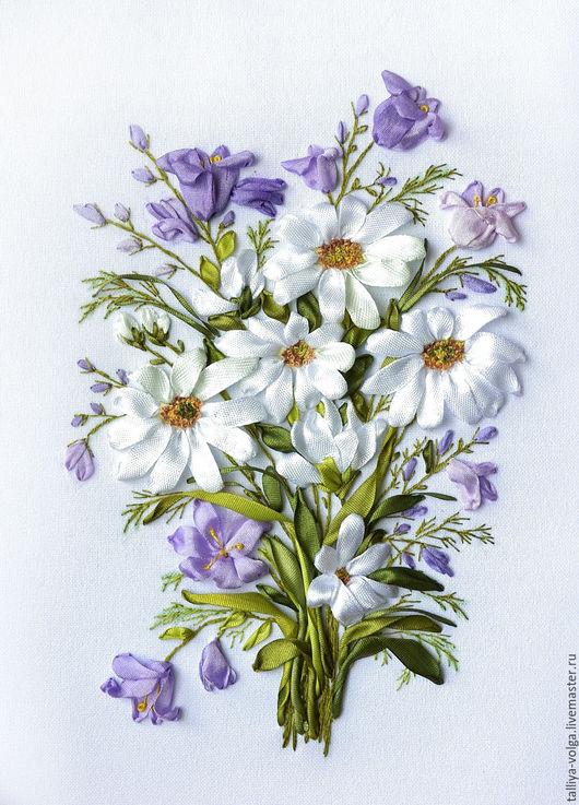 """Картины цветов ручной работы. Ярмарка Мастеров - ручная работа. Купить Картина вышитая  лентами. """"Полевые цветы..."""". Handmade."""