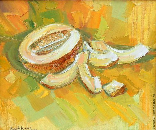 Натюрморт ручной работы. Ярмарка Мастеров - ручная работа. Купить Картина маслом Сочная дыня. Handmade. Желтый цвет