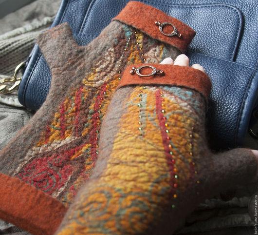"""Варежки, митенки, перчатки ручной работы. Ярмарка Мастеров - ручная работа. Купить Митенки """"Яркие краски осени - рыжий+коричневый"""". Handmade."""