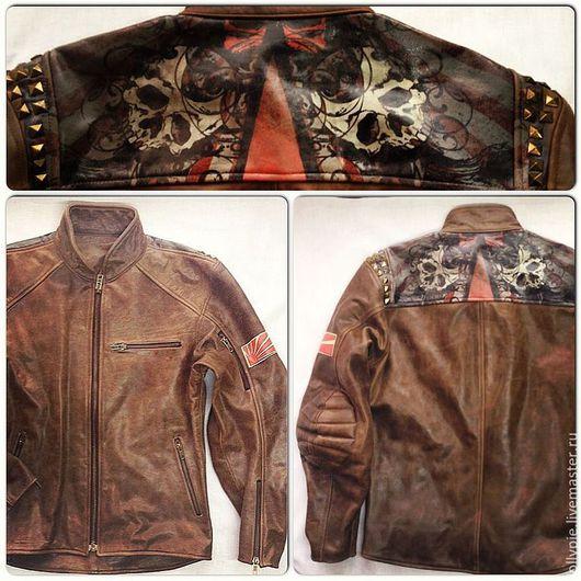 Верхняя одежда ручной работы. Ярмарка Мастеров - ручная работа. Купить Куртка BB03. Handmade. Коричневый, мужское, мотоэкипировка, кожа