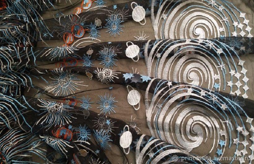 Valentino ткань вышивка на сетке Галактика, Ткани, Санкт-Петербург,  Фото №1