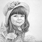 Картины и панно ручной работы. Ярмарка Мастеров - ручная работа Портрет девочки с цветами по фотографии.. Handmade.