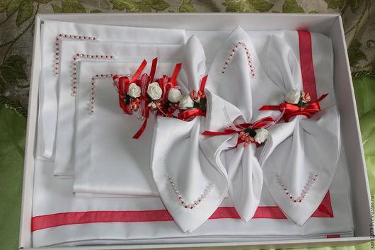Текстиль, ковры ручной работы. Ярмарка Мастеров - ручная работа. Купить Скатерть с салфетками, кольца для салфеток. Handmade. Белый