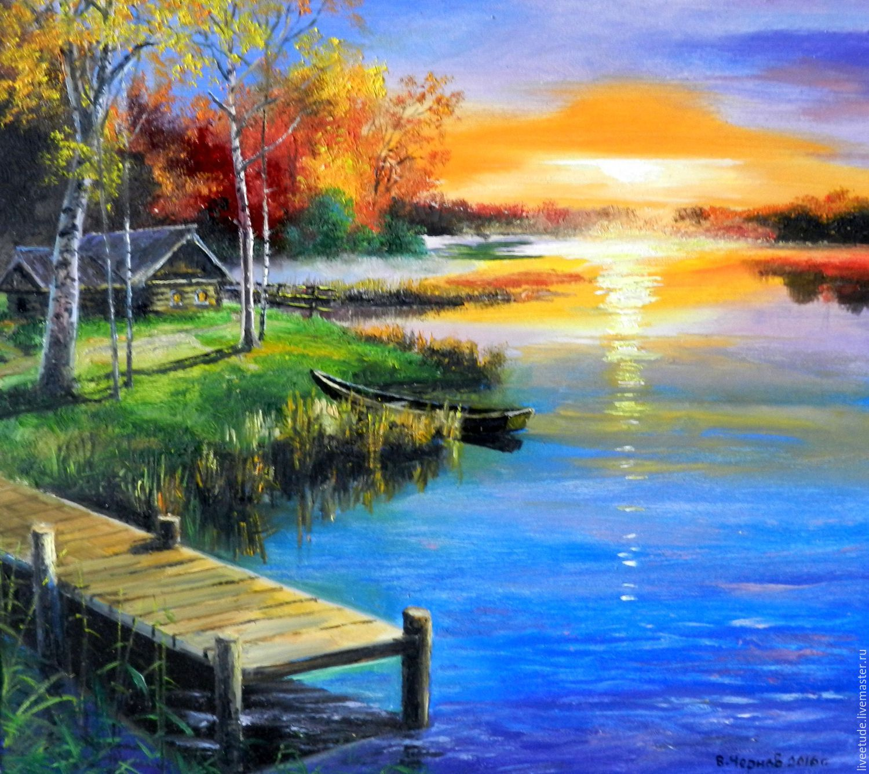... Fair masters,winter landscape,winter sunset,blue paint,bright sun, painting ... - Oil Painting Landscape Zakat On Wade Author's Work – Shop Online On