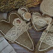 Для дома и интерьера ручной работы. Ярмарка Мастеров - ручная работа Сердечки из мешковины. Handmade.