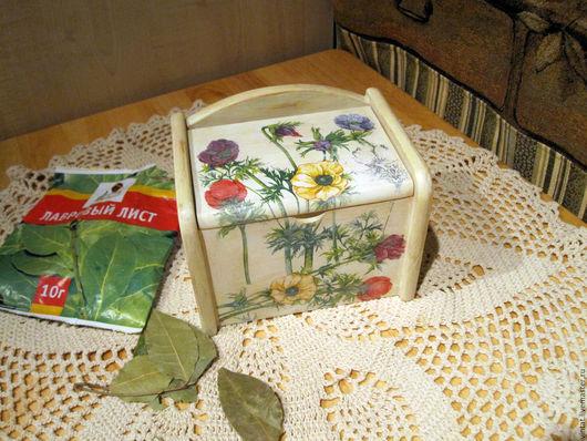 """Кухня ручной работы. Ярмарка Мастеров - ручная работа. Купить Ящичек для кухни """"Анемоны"""". Handmade. Ящик деревянный, луговые цветы"""