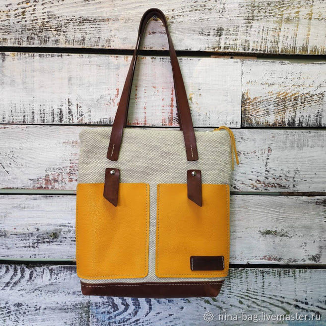 Handbags handmade. Livemaster - handmade. Buy Linen bag with leather yellow pockets.Bag, small bag, beach bag