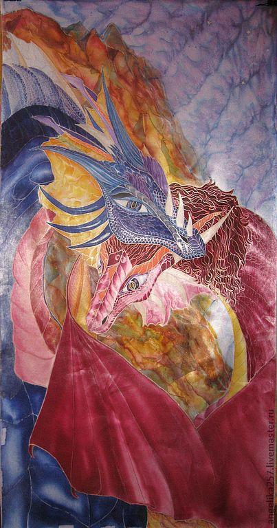 Фэнтези ручной работы. Ярмарка Мастеров - ручная работа. Купить Драконы, батик. Дубль 2.. Handmade. Драконы, бордо, атлас