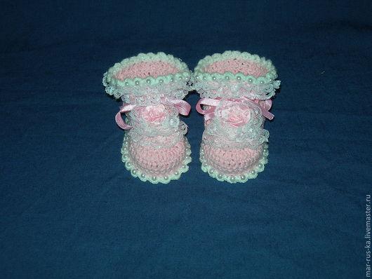 Для новорожденных, ручной работы. Ярмарка Мастеров - ручная работа. Купить Туфельки для маленькой принцессы 1. Handmade. Бледно-розовый
