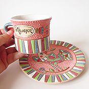 """Посуда ручной работы. Ярмарка Мастеров - ручная работа Именная чайная пара"""" Милена"""". Handmade."""