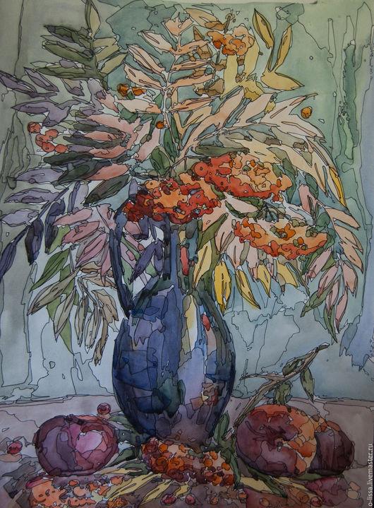 Картины цветов ручной работы. Ярмарка Мастеров - ручная работа. Купить Букет рябины. Handmade. Оранжевый, осень, натюрморт, ветви