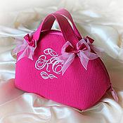 Сумки и аксессуары handmade. Livemaster - original item Cosmetic bag Malinka monogrammed, cosmetic bag road. Handmade.