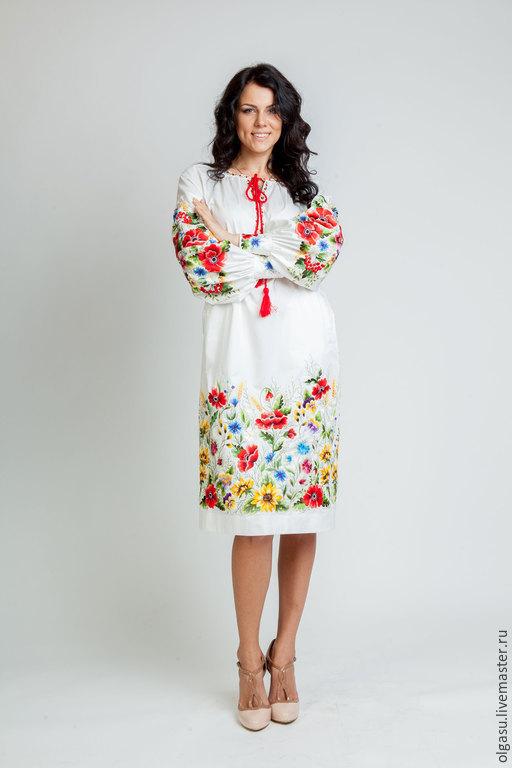Белое платье платье летнее платье платье с вышивкой вышивка вышитой платье