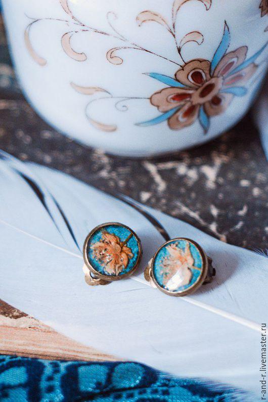 Серьги ручной работы. Ярмарка Мастеров - ручная работа. Купить Клипсы с цветами липы «Turquoise». Handmade. Тёмно-бирюзовый