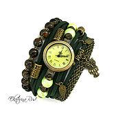 """Украшения ручной работы. Ярмарка Мастеров - ручная работа Часы наручные женские,  """"Время муз"""" изумрудные часы. Handmade."""