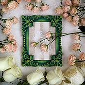 """Сувениры и подарки ручной работы. Ярмарка Мастеров - ручная работа Фоторамка """"Эулалия де Бурбон"""" зеленая в стиле рококо. Handmade."""
