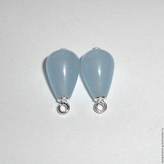 Для украшений ручной работы. Ярмарка Мастеров - ручная работа. Купить Халцедон голубой 8х17, подвески в серебре 925. Handmade.