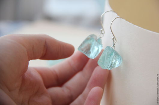 Серьги ручной работы. Ярмарка Мастеров - ручная работа. Купить Серьги с необработанными камнями. Handmade. Комбинированный, необработанные бусины