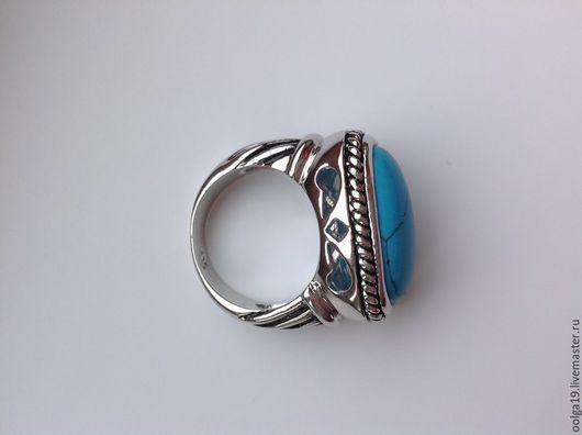 Кольца ручной работы. Ярмарка Мастеров - ручная работа. Купить Кольцо с родиевым покрытием из  серебра 925 пробы с голубой бирюзой. Handmade.