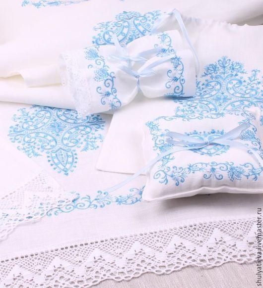 """Свадебные аксессуары ручной работы. Ярмарка Мастеров - ручная работа. Купить Венчальный набор """"Благословение"""" в сине-голубой гамме.. Handmade."""