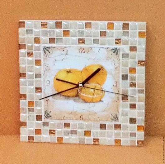 """Часы для дома ручной работы. Ярмарка Мастеров - ручная работа. Купить Часы с мозаикой """"Апельсины"""". Handmade. Часы для загородного дома"""