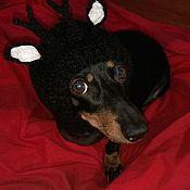 """Для домашних животных, ручной работы. Ярмарка Мастеров - ручная работа Шапочка для собаки """"Козленок"""". Handmade."""