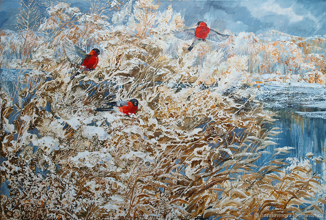 Oil painting 'bullfinch'. Winter landscape, Pictures, Magnitogorsk,  Фото №1