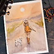 Картины и панно ручной работы. Ярмарка Мастеров - ручная работа Уходя в закат. Handmade.