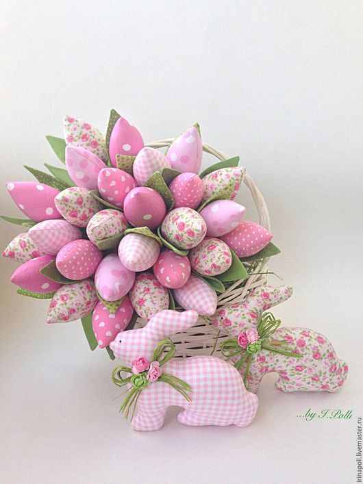 Детская ручной работы. Ярмарка Мастеров - ручная работа. Купить Нежно-розовый букет тюльпанов и пара пасхальных кроликов. Handmade.