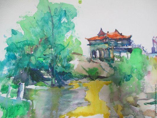 Пейзаж ручной работы. Ярмарка Мастеров - ручная работа. Купить Старинный языческий храм во Вьетнаме.. Handmade. Комбинированный, храм