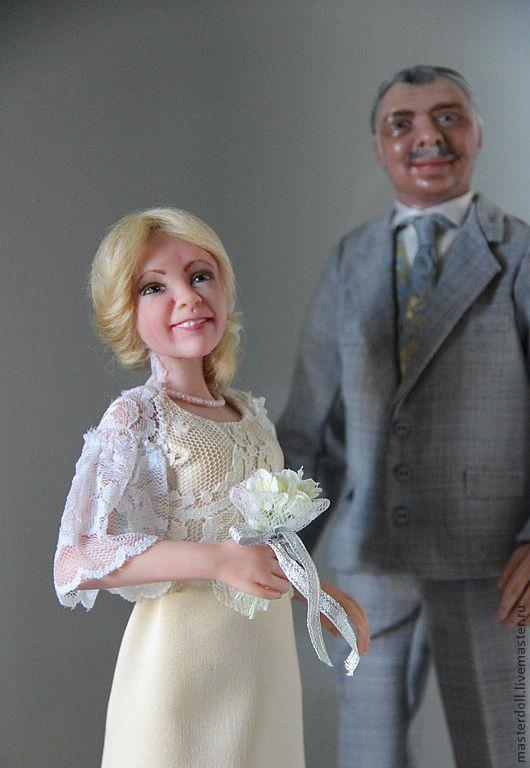"""Коллекционные куклы ручной работы. Ярмарка Мастеров - ручная работа. Купить Авторские  Портретные Куклы """"Свадебная пара"""" из полимерной глины. Handmade."""