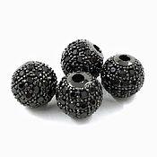 Материалы для творчества handmade. Livemaster - original item Bead with zircon 8h7 mm color black (Ref. 3055). Handmade.