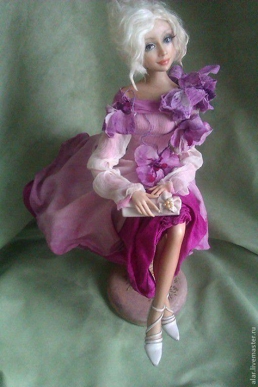 Коллекционные куклы ручной работы. Ярмарка Мастеров - ручная работа. Купить Орхидея. Handmade. Фуксия, коллекционная кукла, натуральный шёлк